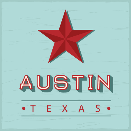 Austin Texas sign, with green vintage wood on back Vector Illustration