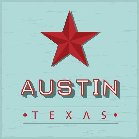 Austin Texas sign, with green vintage wood on back Illustration