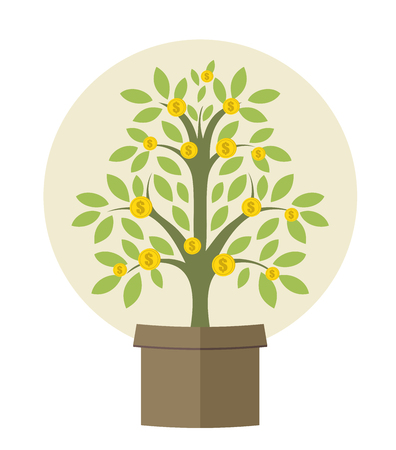 Money plant, growing investment concept Illustration