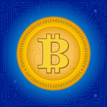 bitcoin crypto coin with blue background Stock Illustratie