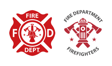 Fire department icon, set of modern and vintage  イラスト・ベクター素材