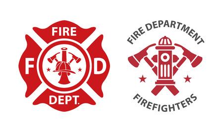 Icono del departamento de bomberos, conjunto de modernos y vintage