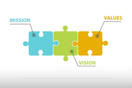 Mission, vision, values, color puzzle, corporate concept Stock Vector - 99500086