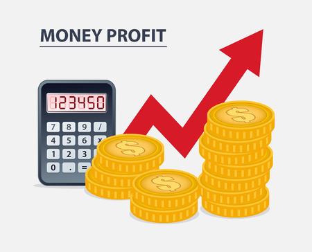 Money profit concept, coins calculator and growing arrow 向量圖像