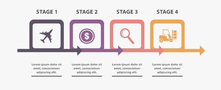 Project info in 4 stages, for entrepreneur reports Illustration