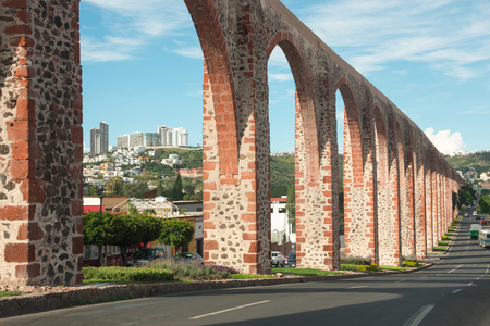 Aqueduct at Queretaro, Mexico, antique construction Stock Photo
