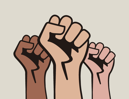 Raised three fists, power to the people