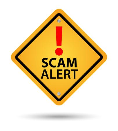 Yellow scam alert road sign