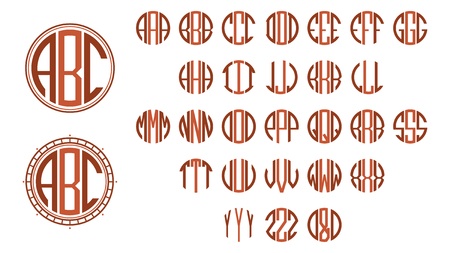 Monogram circle letters, Art Deco style