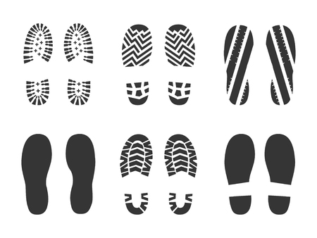 Footprints human shoes silhouette in black color Stock Illustratie