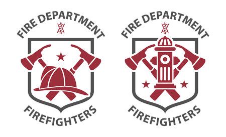 Red vintage fireman pictograms in grey shield Ilustração Vetorial