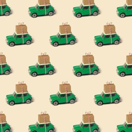 Seamless green vintage travel car