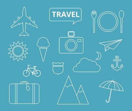 Travel theme icons, thin style