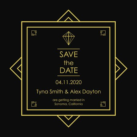 Elegant Save the Date Card, black and golden colors