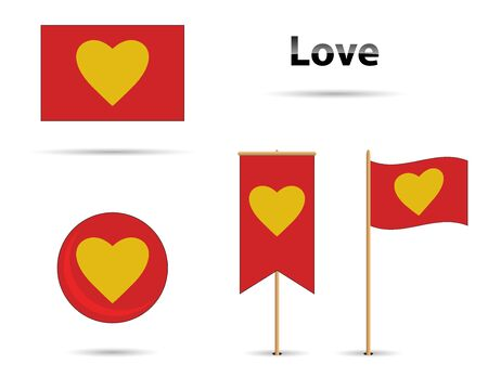 Red and yellow love flag set Stock Illustratie