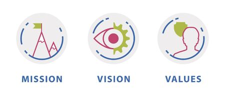 set of core lines in business mission vision values circles