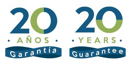20 years guarantee badge in spanish and english