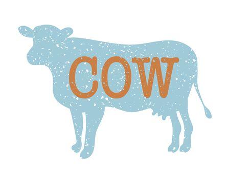 Cow vintage silhouette, blue and orange Çizim