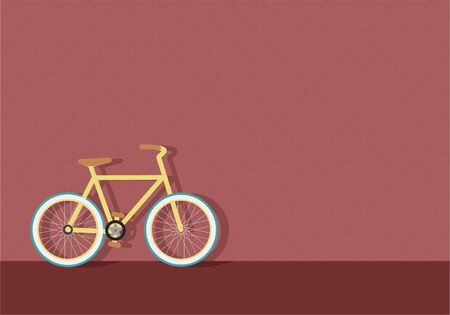 Yellow, hipster, bike in downtown wall
