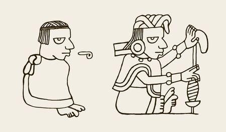 Aztec people icons, from ancient stones Stock Illustratie