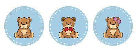 Cute teddy bears, girl and boy in circles