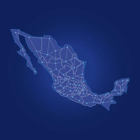 mexico map dot links, distribution routes Stock Illustratie