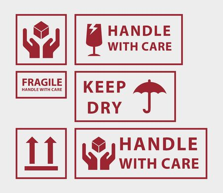 Set of handle with care icons, for shipping Stock Illustratie