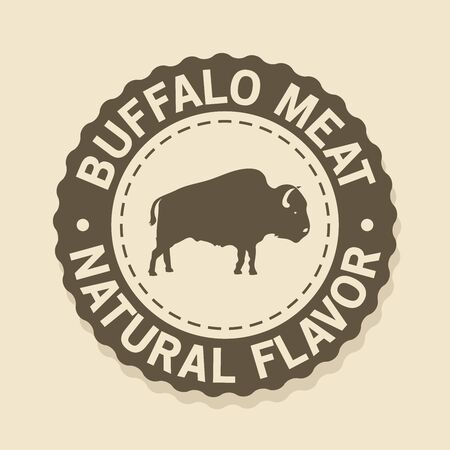 Seal stamp Buffalo meat, natural flavor  イラスト・ベクター素材