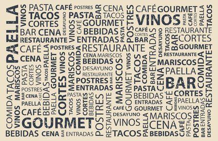Food words wallpaper in spanish, latin flavor  イラスト・ベクター素材