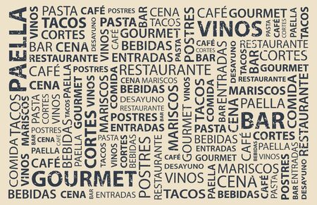 Food words wallpaper in spanish, latin flavor Stock Illustratie
