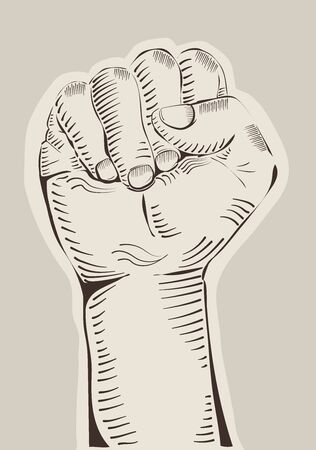 Riasing fist engraved, revolution, protest concept