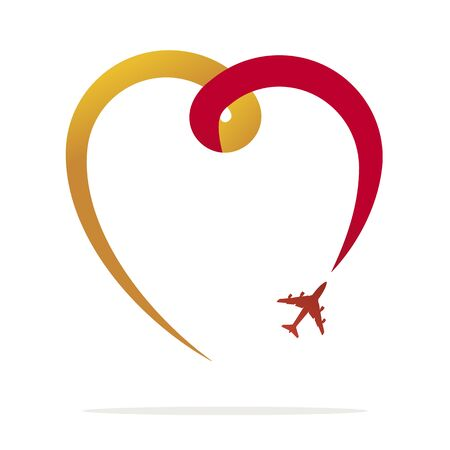 Love travel, heart and airplane design on white