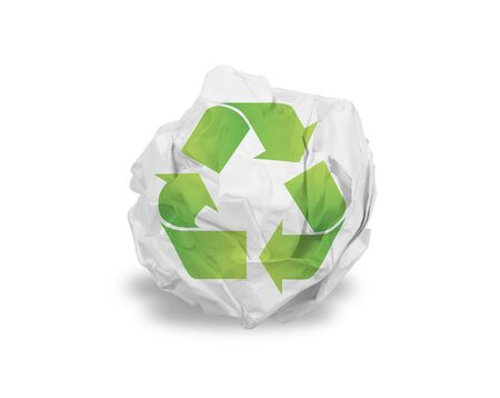 Crumpled paper ball isolated over white Stockfoto