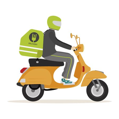 Boy driving motorcycle food delivery mobil app