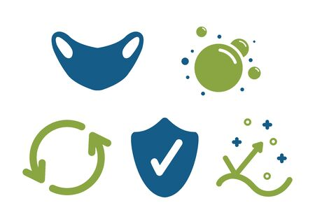 Health protection icons in blue and green colors
