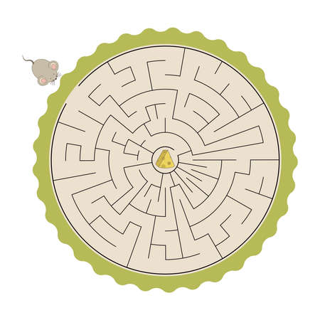 Kids labyrinth, help mouse to find cheese  イラスト・ベクター素材