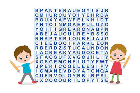 Word search puzzle, boy and girl with pen  イラスト・ベクター素材
