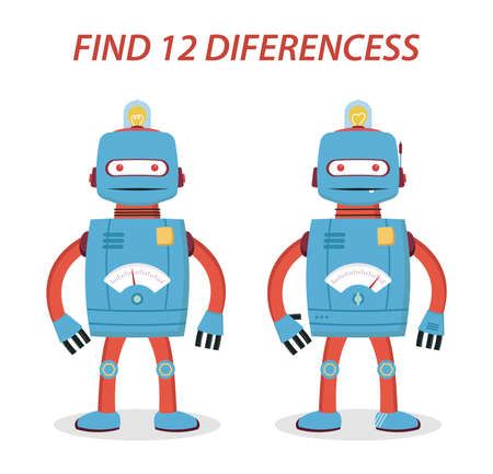 Robot kids game find 12 differences  イラスト・ベクター素材