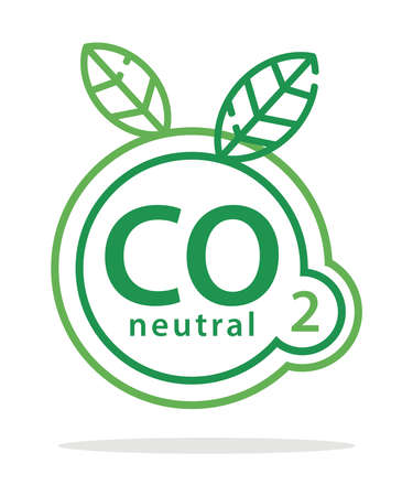 CO2 neutral eco logo in green colors