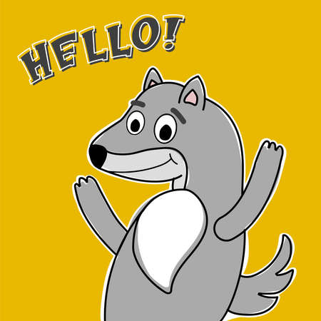 Happy Comic Wolf for childrens in yellow background