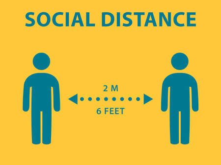 Social distance icons, keep healthy