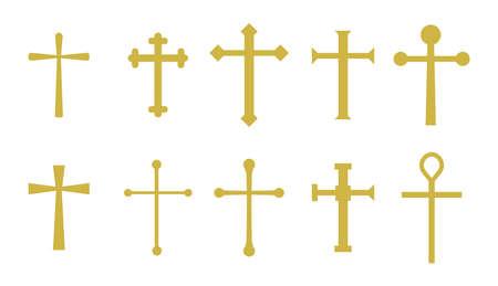 Set of golden christian crosses in vector