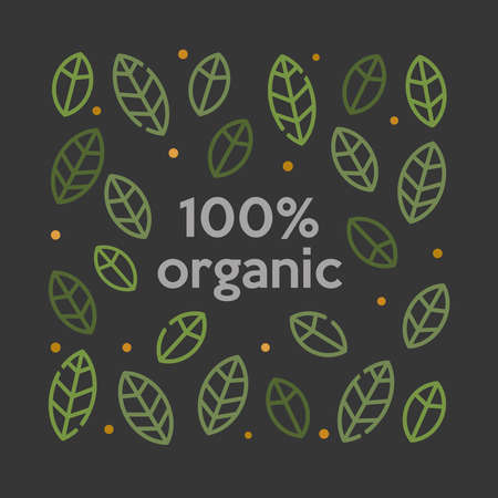 Organic 100% logo with leaves background