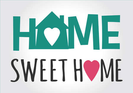 Home sweet home sign in green with love