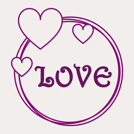 Love circle sign in purple color  イラスト・ベクター素材