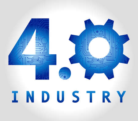 4.0 Industry concept banner in blue hi tech colors