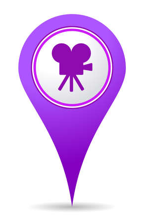 location cinema icon pin for use in maps