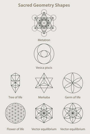 Sacred geometry shapes, set eight examples  イラスト・ベクター素材