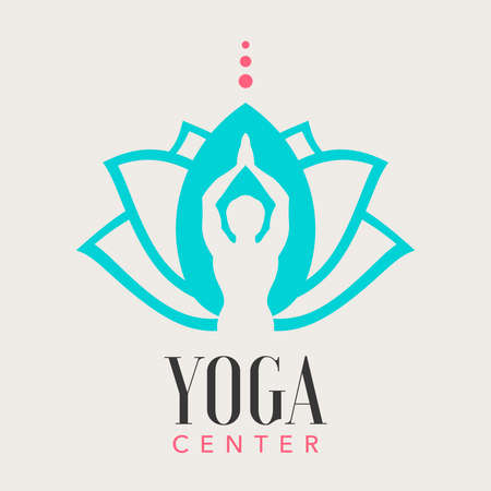yoga center logo, with a man silhouette  イラスト・ベクター素材