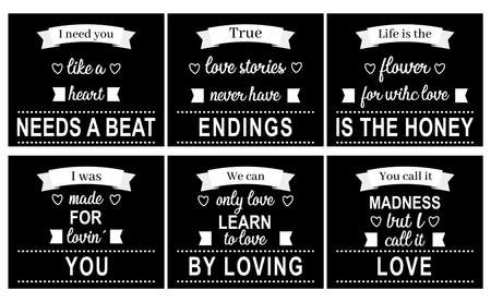 set of love quotes in black  イラスト・ベクター素材